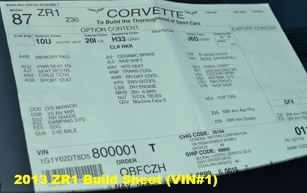 2013 Corvette Build Sheet VIN #1